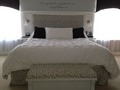 "Danny built this bed for me. I love the tuffed headboard and the perfect ""C"" swirled pattern in the fabric I chose. Tuffed Headboard, Decor, Master Bedroom, Headboard, Bedroom Styles, Bed, Furniture, Home Decor, White"