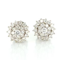 Vintage 1.62ct Diamond Round Cluster Earrings 14 Karat White Gold Estate Jewelry