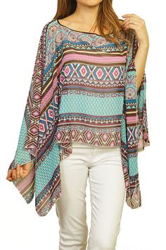 MIXED PRINTED PONCHO, TURQUOISE