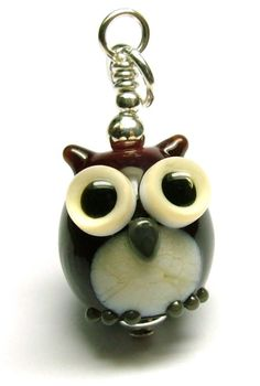 Lampwork glass 'Owl' bead pendant by Laura Sparling