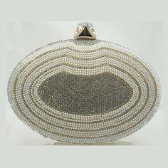 Tigerstars l $36.00 Elegant Gold Pearl Beads Rhinestone Oval Minaudiere Case Purse Handbag