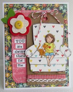 """This adorable collector's stamp kit is from Illustrator Phyllis Harris.    She is an artist for the popular HIGHLIGHTS magazine for children as well as stamp illustrator for Unity Stamp Company.  Little girl on chair measures approximately 3"""" x 3.5"""".  """"you are always there for me"""" sentiment measures approximately 1"""" x 1"""".  """"lean on me"""" sentiment measures approximately 1"""" x 1.25"""".  She has SEVERAL releases with Unity – and you simply can click HERE.  All Unity Stamps are pre-cut, mounted on…"""