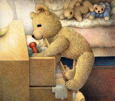 Jane Hissey : Hoot, Lovely Stuffed Animals - Little Old Bear - Heartwarming illustrations of Teddy Bear 7 Old Teddy Bears, Antique Teddy Bears, My Teddy Bear, Bear Toy, Gifs, Bear Illustration, Gif Animé, Pet Toys, Dinosaur Stuffed Animal