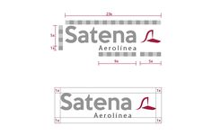 """EL logotipo de SATENA, se inscribe en una superficie modular de proporciones 23x6. El valor """"X"""" establece la unidad de medida. Así, aseguramos la correcta proporción del logotipo sobre cualquier soporte y medidas."""
