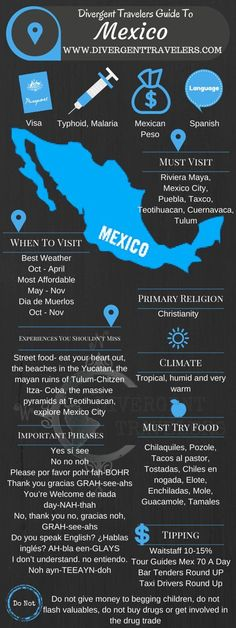 Divergent Travelers Travel Guide, With Tips And Hints To Mexico . This is your ultimate travel cheat sheet to Mexico. Click to see our full Mexico Travel Guide from the Divergent Travelers Adventure Travel Blog and also read about all of the different adventures you can have in Mexico at http://www.divergenttravelers.com/destinations/mexico/