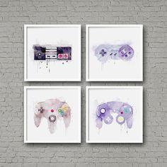Nintendo Controller Aquarell Kunstdruck Set