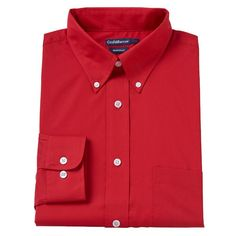 Men's Croft & Barrow® Fitted Solid Broadcloth Button-Down Collar Dress Shirt, Size: 18.5-34/35, Med Red