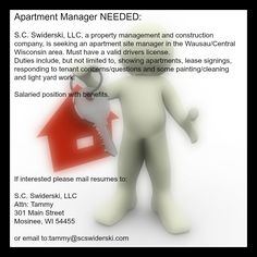 Another Job Opening at S.C. Swiderski, LLC. Please pass along! #jobs #jobopportunity #apartmentmanager #apartment #leasing #propertymanagement #wisconsin #sitemanager #propertymanager