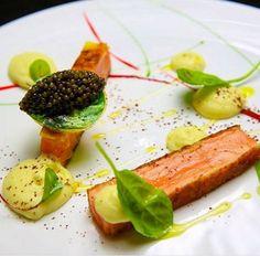 Crispy salmon accompanied with caviar at L'Atelier de Joël Robuchon Saint Germain, Paris