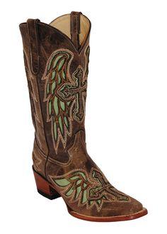 Womens Ferrini Green Chocolate Laser Angel Cross D Toe Western Boots