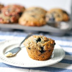 Blueberry Bran Muffins With Eggs, Buttermilk, Coconut Oil, Kosher Salt, Baking Soda, Vanilla Extract, Lemon Zest, Cane Sugar, Bran Cereal, Whole Wheat Flour, All-purpose Flour, Frozen Blueberries, Butter, Pecan Halves
