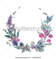 7cd49e2d0 Watercolor floral wreath, vintage design element with thistles, stachys,  blackberries and wildflowers, botanical natural watercolor round frame  isolated on ...