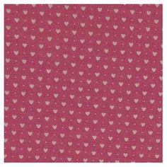 Tissu  rose à petits coeurs blancs