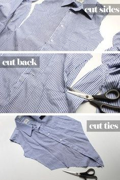 Cropped tie top from oversized men's button-up shirt