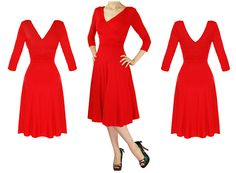 LADIES NEW RED LONG SLEEVE WRAP 50S VINTAGE STYLE CAREER EVENING PARTY DRESS | eBay