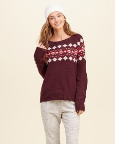 HOLLISTER & PATTERNED CREW SWEATER & SIZE M AND L & MULTI-COLOR  #Hollister #Sweater