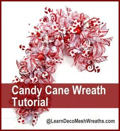 You can NOW make these Deco Mesh Candy Cane wreaths at www.learndecomesh… DIY Christmas, How to make Deco Mesh Wreath, Gift idea, Holiday wreath DIY Deco Mesh Crafts, Wreath Crafts, Diy Wreath, Christmas Crafts, Christmas Decorations, Wreath Making, Wreath Ideas, Candy Cane Decorations, Deco Mesh Wreath Tutorial