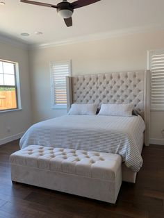 White Tufted Bedroom Bench Elegant Diamond Tufted Wingback Bed and Storage Bench Set King Extra Tall Tuffed Bed, King Bed Frame, Upholstered Bed Frame, Wingback Headboard, King Headboard, Tufted Headboards, Pallet Headboards, Tufted Storage Bench, Tufted Bench