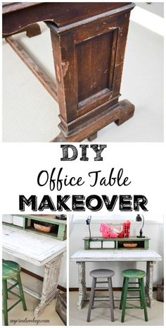 DIY Office Table Makeover - Looking for a way to add work space in your home office? Check out this DIY Office Table Makeover from My Creative Days.