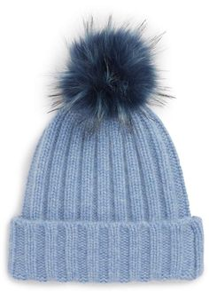 Women's Halogen X Atlantic-Pacific Cashmere Beanie With Faux Fur Pom - Blue Cashmere Beanie, Cashmere Gloves, Cashmere Wrap, Knit Beanie, High Fashion Hair, Thick Tights, Cute Beanies, Atlantic Pacific, Fur Pom Pom