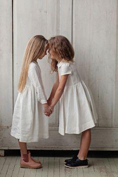 WHITE MAGNOLIA Romatic Dress for Girls, long sleeves, White, Kids Fashion, Hand Made, Children Clothing