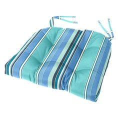 Cushion Source Sunbrella Striped 18 x 16 in. Tufted Chair Cushion Dolce Oasis - GGEDG-56001