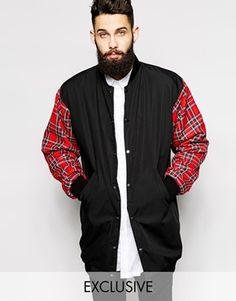 Shop Reclaimed Vintage Longline Bomber Jacket With Tartan Sleeves at ASOS. Reclaimed Vintage, Long Bomber Jacket, Tartan, Plaid, Asos, Fashion Line, Models, Long A Line, Your Style