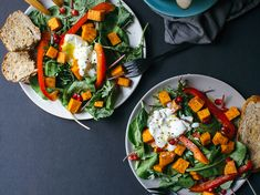 Breakfast Salad   This versatile healthy breakfast salad recipe includes roasted sweet potatoes, spinach, salad mix, and a soft-boiled egg.