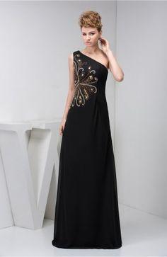Black Chiffon Bridesmaid Dress Unique Sexy Luxury Destination Low Back Western