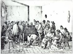 The Public Warming Room in Paris, 1840 (engraving) (b/w photo) Wall Art Prints by Victor Adam