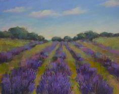 Lavender Field Landscape purplegreen 16x20 by KarenMargulisFineArt, $195.00