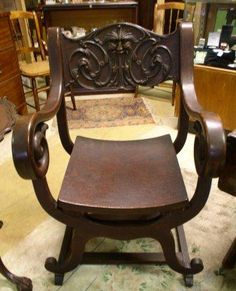 Stomps Burkhardt Carved Antique Saddle Chair Unique