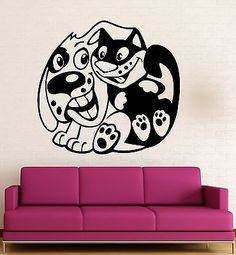 Wall Stickers Vinyl Decal Dog Cat Friendship For Kids Baby Room Positive (ig697)