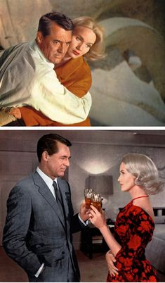 The two best dresses in North by Northwest: that insane black-and-red backless number, and the perfect orange dress with matching scarf