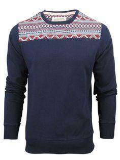 Mens Brave Soul Helios Crew Neck Aztec/ Nordic Print Jumper/Sweater.