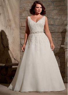 Elegant Organza V-neck Neckline Natural Waistline A-line Plus Size Wedding Dress With Beaded Lace Appliques