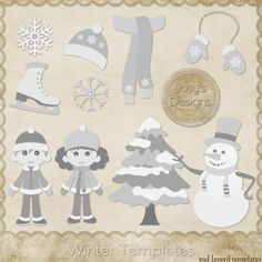 Winter Christmas Layered Template COMBO Templates 1 by Josy, cu, commercial, clipart, scrap, scrapbook, cudigitals.com, graphics, digital
