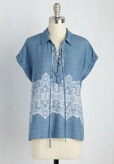 Everyday Unexpected Top - Blue, Geometric, Casual, Festival, Short Sleeves, Woven, Better, Collared, Mid-length