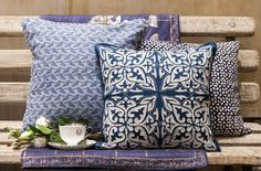 PLAYFUL PATTERNS IN SHADES OF INDIGO on our #CloudIndigo cushions. Discover the silver lining in the grey season of monsoon. See more from the 2013, Cloud Indigo collection, including dinnerware, bedding, cushions and tea sets on our Pinterest board. #CloudIndigo #Monsoon #SilverLining #Indigo