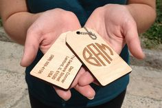 Custom engraved wooded luggage tags monogram by OwlHare on Etsy