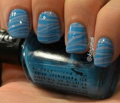 Nail Art How To, Nail Tutorial, Step-by-Step, Water Marble, Blue Zebra Stripe Nails | NailIt! Magazine