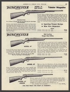 Buy 1950 WINCHESTER 47 Bolt Action Rifle AD: GunBroker is the largest seller of Other Collectibles Collectibles & Militaria All Vintage Advertisements, Vintage Ads, Winchester Firearms, Bolt Action Rifle, Guns And Ammo, Rifles, Ww2, Minecraft, Weapons