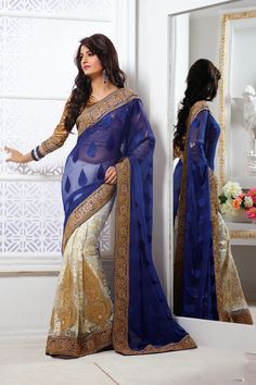 USD 145.83 Blue and Off White Faux Georgette Butta Work Half N Half Party Wear Saree  39402