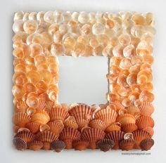 Orange Ombre Seashell mirror inspired by fiery orange sunsets in Hawaii - + Beachy Decor + Florida Bungalow + Nautical + Cottage.we have these color of seashells too. Seashell Frame, Seashell Art, Seashell Crafts, Beach Crafts, Diy And Crafts, Arts And Crafts, Seashell Decorations, Deco Marine, Seashell Projects