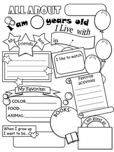 All About Me Worksheet--this would be cute for a time cap or 1st week of school and have a partner share yours with class and vice versa
