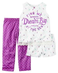 Kid Girl 3-Piece Jersey PJs from Carters.com. Shop clothing & accessories from a trusted name in kids, toddlers, and baby clothes.