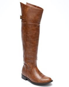 Breckelles BD49 Women Crinkle Leatherette Round Toe Riding Thigh High Boot - Tan (Size: 8.5)