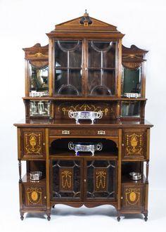 Antique Edwardian Rosewood Inlaid Cabinet c. 1890