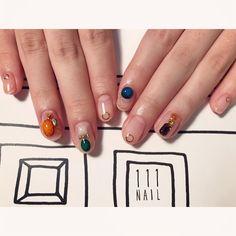 bijoux▪️⬜️▪️ #nail#art#nailart#ネイル#ネイルアート #stone#bijou#jewel#クリアネイル#cool#gorgeous#party#nailsalon#ネイルサロン#表参道