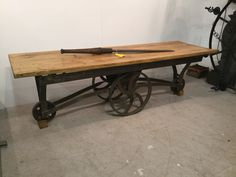 Industrial style trolley table #vindustrial  £350 available at the saw-mill website